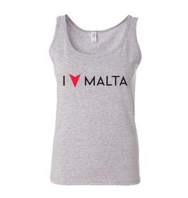 Women's I Love Malta Tank Top - Grey Marl M