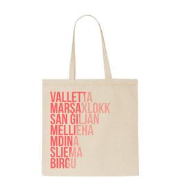 Malta Cities Tote Bag - Natural/Coral