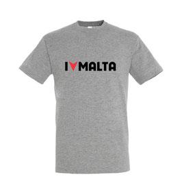 Men's I Love Malta Tshirt - Grey