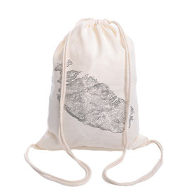 Malta & Gozo Drawstring Backpack - Natural/Grey