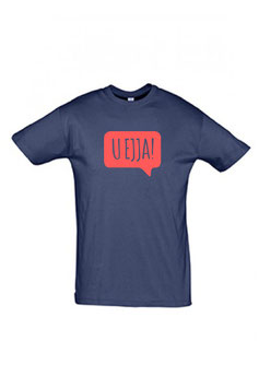 Men's U Ejja T-shirt - Navy/Coral