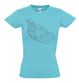 Women's Topography Tshirt - Atoll Blue/Grey