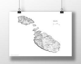 Large Malta Topography Map - White