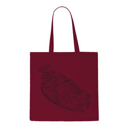 Malta Topography Tote Bag - Dark Red/Black