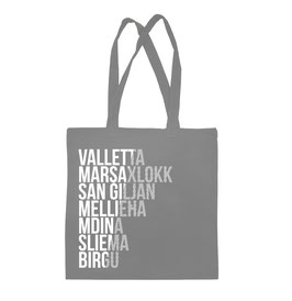 Malta Cities Tote Bag - Grey/White