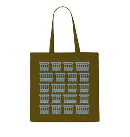 Maltese Balconies Tote Bag - Military Green/Light Sky Blue