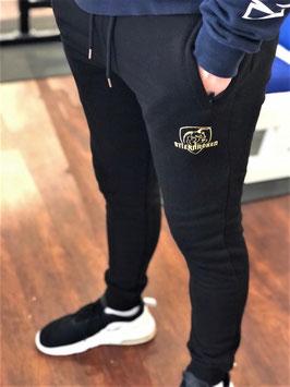 STIERNACKEN - Black Sweat Pant mit Stick in Gold