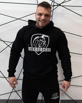 STIERNACKEN - Black Hoodie mit Stick in Weiss