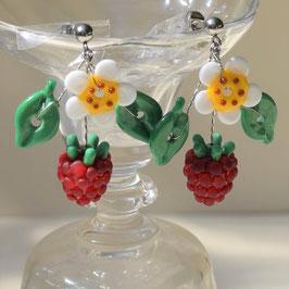Himbeerohringe floral