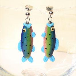 Ohrstecker Fischchen blau/grün/rosa