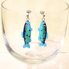 Ohrstecker  Fischchen blau/grün