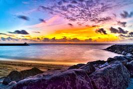 Wandbild 3 Malediven Sonnenuntergang Bunt