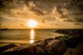 Wandbild 1 Malediven Sonnenuntergang Gold