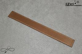 Bracelet lanière cuir de veau bronze métal
