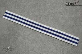 Bracelet lanière à rayures bleu marine & argent