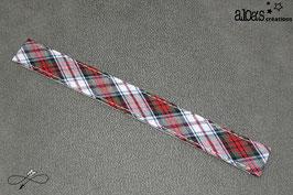 Bracelet lanière motif écossais blanc
