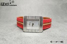 Bracelet lanière tissu rouge rehaussé d'un galon à paillettes or