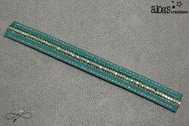 Bracelet lanière tissu vert rehaussé d'un galon à paillettes or