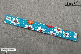 """Bracelet lanière Petit Pan motif """"Fleurs des îles turquoise"""" & son bracelet coordonné réglable"""
