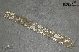 Bracelet lanière tissu liberty Froufrou Les Fleuris Kaki