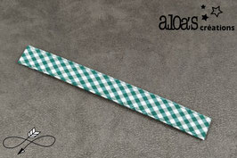Bracelet lanière tissu motif vichy vert