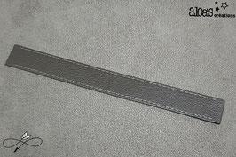 Bracelet lanière cuir de veau lisse gris foncé