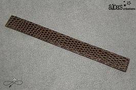 Bracelet lanière cuir agneau de nappa chocolat verni