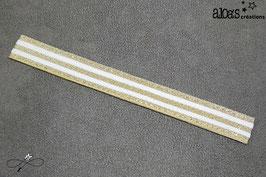 Bracelet lanière à rayures blanc & or