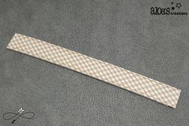 Bracelet lanière tissu motif vichy taupe