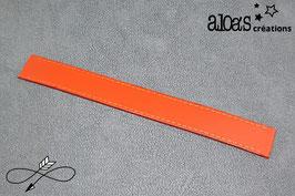 Bracelet lanière cuir de veau rouge orangé