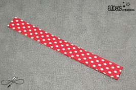 Bracelet lanière tissu rouge à pois blancs
