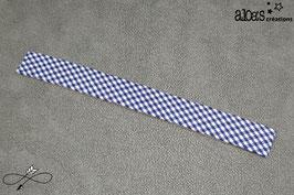 Bracelet lanière tissu motif vichy bleu