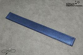Bracelet lanière cuir agneau de Nappa bleu métal