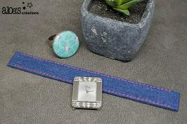 Bracelet lanière en chambray bleu