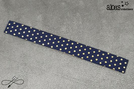 """Bracelet lanière tissu Froufrou """"Tout ce qui brille Navy à pois or"""""""