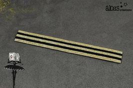 Bracelet lanière à rayures noir & or