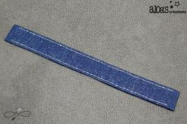 Bracelet lanière en chambray bleu foncé & lurex argent
