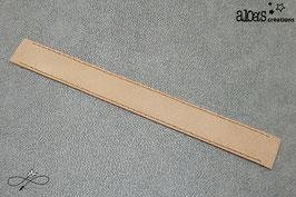 Bracelet lanière cuir de vachette mat marron clair