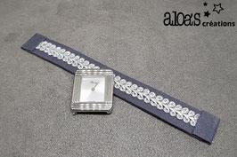 Bracelet lanière tissu gris rehaussé d'un galon argenté