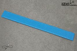 Bracelet lanière cuir de veau bleu lagon