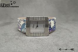 Bracelet lanière tissu liberty of London Mauvey bleu