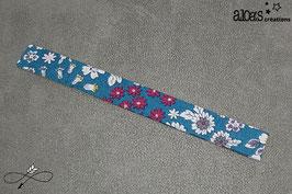 """Bracelet lanière tissu Froufrou """"les fleuris pétrole"""""""