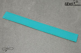 Bracelet lanière cuir de veau bleu paon
