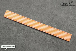 """Bracelet lanière Petit Pan motif """"Rigato orange fluo"""" & son bracelet coordonné réglable"""