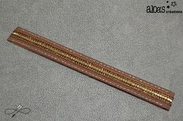 Bracelet lanière tissu chocolat rehaussé d'un galon à paillettes or