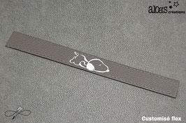 Bracelet lanière cuir de veau gris