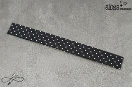 Bracelet lanière tissu noir à pois blancs