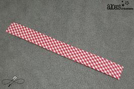 Bracelet lanière tissu motif vichy rouge