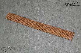 Bracelet lanière cuir de lézard taupe verni