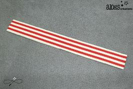 Bracelet lanière à rayures beige & rouge
